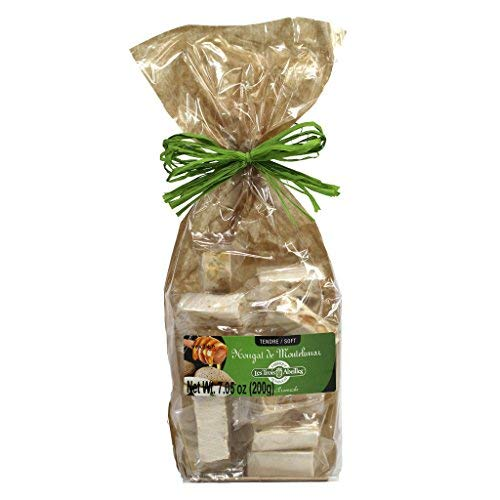 Soft White Nougat Candy with Lavender Honey and Almonds from Montelimar   Handcrafted in France by Les Trois Abeilles   All Natural, Gluten-Free   200 Grams (7.05 Ounce) Bag