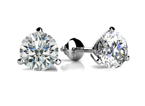 2.00 Ct TTW Size Round Cut Cubic Zirconia Martini Setting Stud Earrings in Sterling Silver With Screw Back