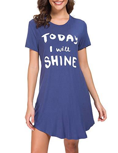 M-anxiu Nightgown Womens Printed Sleepwear Short Cotton Nightdress Cute Sleepshirts S-XXL (Large, Navy-style2)