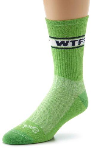 SockGuy Men's WTF Socks, Green, Sock Size:10-13/Shoe Size: 6-12