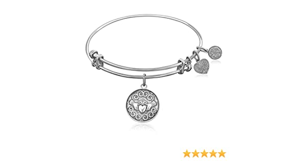 16c9c8ecea59a CoutureJewelers Expandable Bangle in White Tone Brass with Claddagh Love  and Friendship Symbol