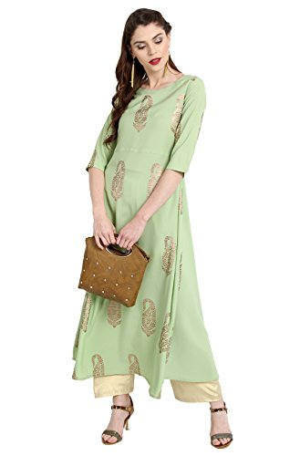 Janasya Indian Tunic Tops Crepe Kurti for Women (XXX-Large) Green