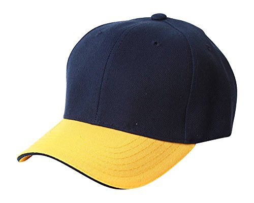 TOP HEADWEAR Adjustable Baseball Structured Cap Hat, Navy Gold