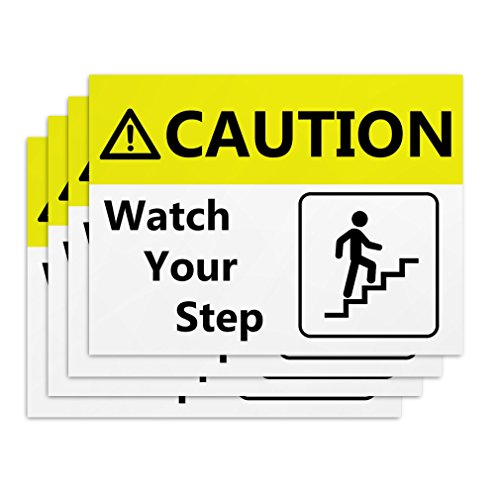 Watch Your Step Signs - 4 Pieces - Rust Free - Clear & Visible Text - Light Tough Long-Lasting - Easy to Install Safety Signs to Warn Employees & Customers of Potential Dangers