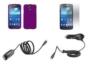 Quaroth Samsung Galaxy S4 Active - Premium Accessory Kit - Dark Violet Purple Hard Shell Case + ATOM LED Keychain Light...