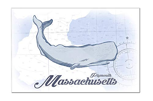 Plymouth, Massachusetts - Whale (Blue) - Coastal Icon (24x16 Acrylic Wall Art Gallery - Plymouth Lantern Hanging