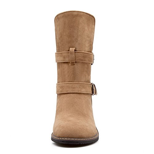 AllhqFashion Womens Round Closed toe Low-heels Frosted Solid Mid-top Boots Camel 54n6bshSyP