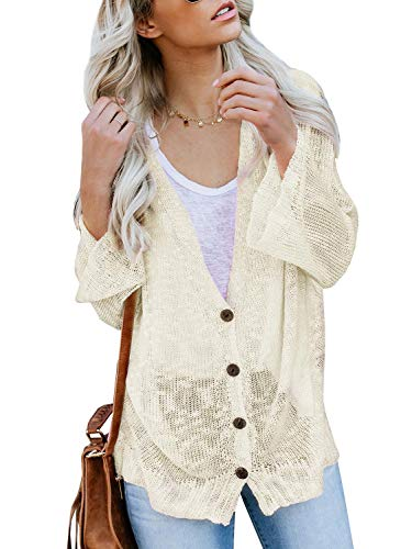 Ybenlow Womens Boho Knit Cardigans Loose Lightweight V Neck Button Down Sweater Sheer Henley Tops Beige