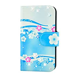 Generic Rhinestone Pink And White Flower Sea Style Design Card Slot Magnetic PU Leather Flip Case Cover Compatible For HTC Desire V T328W T328E T327W T329W