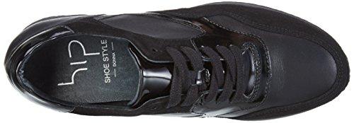 HIP D1011 - zapatilla deportiva de piel mujer Negro - Schwarz (10CO/Ac)