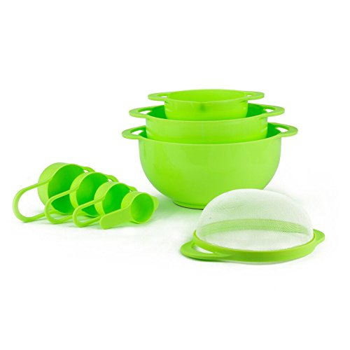 Set of 8 Compact Nesting Mixing Bowl Set Measuring Tools Sieve Colander Food Prep Plastic Dishwasher Safe Non-Slip, 8-Piece, By Intriom - Piece 8 Nesting Bowl