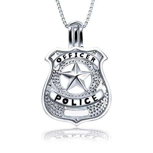 (AIM Jewelry 925 Sterling Silver Police Officers Badge Cage Pendant Necklace, Design Medal Locket Cage Pendants for Pearl)