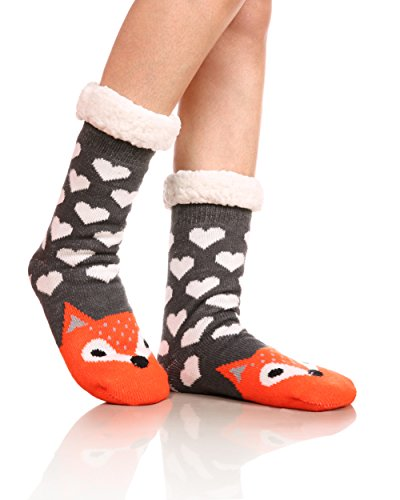 Womens Sherpa Winter Fleece Lining Knit Animal Socks Non Slip Warm Fuzzy Cozy Slipper Socks Fox