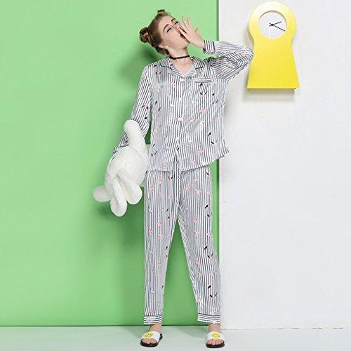 Ms. pigiama di seta di ghiaccio Sezione sottile primavera e autunno Maglia a maniche lunghe moda camicia Set di servizio a domicilio ( Size : XL )