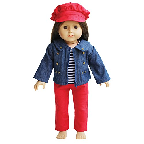 Jeans Doll Outfit for 18 inch Dolls - Denim Jacket with Striped Tee, Red Pants and Hat Fits 18 Inch Dolls - American Girl Doll (Holiday Denim Jacket)