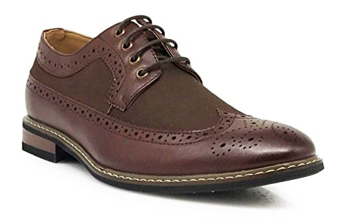 Titan02 Men's Colonial Spectator Two Tone Grand Wingtips Oxfords Perforated Lace up Dress Shoes (7.5, Brown) -