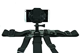 Gopro Chest Mount with Action Mount Adapter for Smartphone, W/j-hook & Screw, Operable with Any Smartphone. Strongest Hold on the Market. Mount a Gopro, Any iPhone, Samsung Galaxy. Easy to Use!