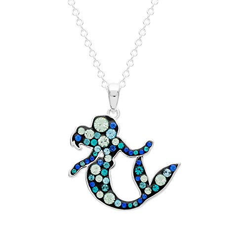 """(Disney Little Mermaid Jewelry for Women and Girls, Silver Plated Pave Crystal Ariel Pendant Necklace, 18"""" Chain)"""
