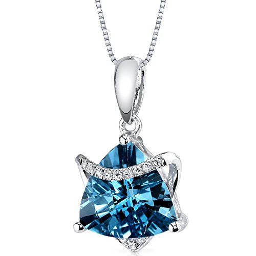 14 Karat White Gold Trillion Cut 2.57 carats London Blue Topaz Diamond ()