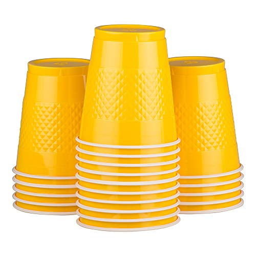 (JAM PAPER Plastic Party Cups - 12 oz - Yellow - 20)