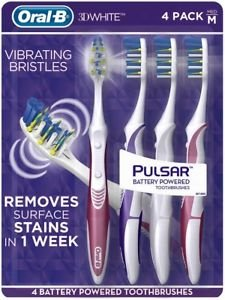 Oral B 3D White Luxe 4 Pack Pulsar Battery Powered Toothbrushes – Medium