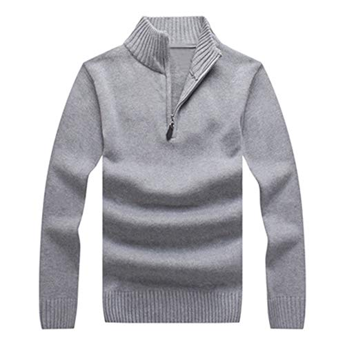 Youthny Montant Chaud Pull Automne Coton Manches Hiver Fit Epais En Gris Col Longues Homme Slim rrOYRwa