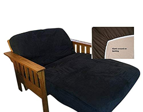OctoRose Twin Size Elastic Bonded Micro Suede Easy Fit Fitted Futon Cover (Black)