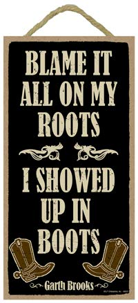 SJT ENTERPRISES Blame it All on My Roots INC SJT94823 Garth Brooks I Showed up in Boots 5 x 10 Primitive Wood Plaque Sign