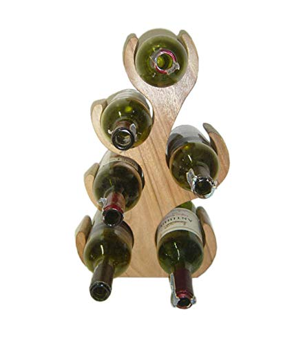 Decozen Wine Rack 6 Bottle Solid Wood Handmade by Skilled Artisans for Home Decor Kitchen Decor Mini Bar 4X 8x2 inches ()