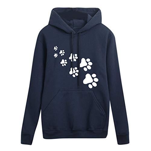 Sunhusing Women's Print Dog Paw Footprint Round Neck Long Sleeve Pullover Casual Hooded Sweatshirt Navy ()