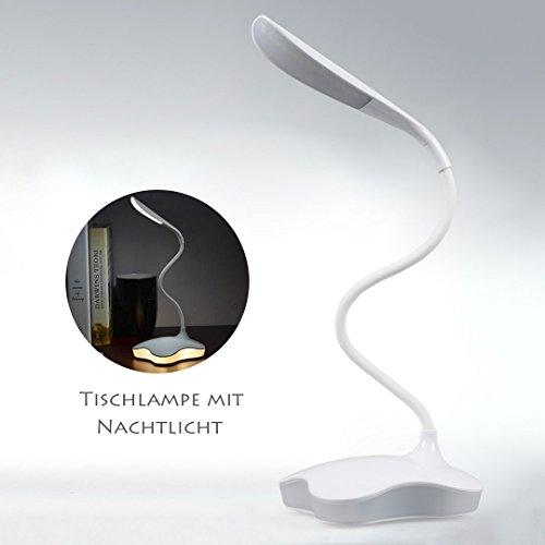 ProGreen NEU Design LED Tischlampe mit Touch-Dimmer, 3 Helligkeiten und 1 Nachtlicht, 5w 120lm, 14 CREE LEDs, dimmbar, ultralleicht, tragbar und 360° flexibel mit USB Aufladung, Schreibtischlampe für Kinder, Tischleuchte, Leselampe, Buchlampe (Warmweiß Nachtlicht)