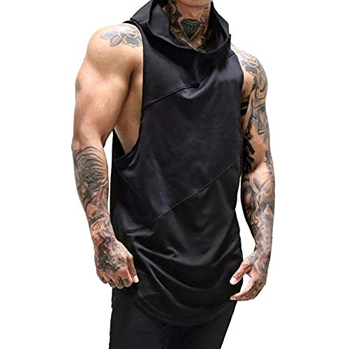 Ratoop_shirt Mens Tank Top Gyms Fitness Muscle Mesh Hoodie Sleeveless Bodybuilding Singlet T-Shirt Vest Black ()