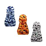 3pcs Packed Miltary Camouflage Colorful Premium 360 Waves Long Tail Silky Durag Cap for Men Du-rag (Set3)