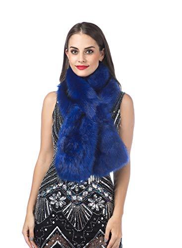 Saferin Women's Winter Faux Fake Fur Straight Scarf Halloween Custume Party Wrap Collar Shawl Shrug(SFOX-Sapphire Blue) ()