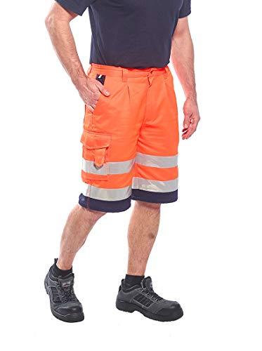 Portwest E043ONRL Hi-Vis P/C Shorts 1739.11 cc Textile, Size- Large, Orange/Navy