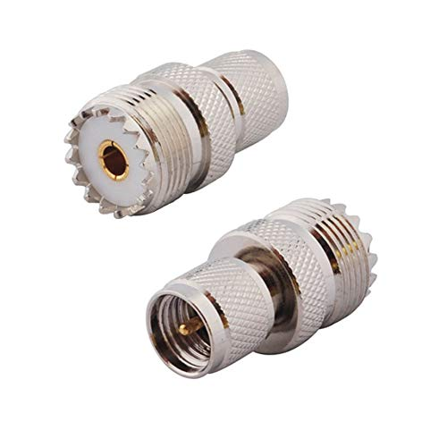 DHT Electronics RF coaxial Adapter Mini-UHF Male to UHF SO239 PL259 Connector Pack of 2