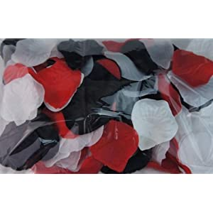 300pc Mixed Color Rose Petals Black, Red, White Wedding Table Decoration 10