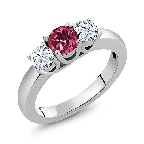 Gemstone Tourmaline Ring (1.16 Ct Round Pink Tourmaline White Topaz 925 Sterling Silver Ring)