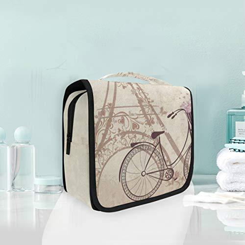 Bonjour Paris Eiffel Tower Bike Vintage Hanging Travel Toiletry Bag for Women Men | Hygiene Bag | Bathroom and Shower Organizer for Toiletries, Cosmetics, Makeup, Brushes
