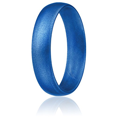 ROQ Silicone Wedding Ring for Women, Affordable Comfort Fit 6mm Love Metallic Silicone Rubber Wedding Bands - Metal Blue - Size 10