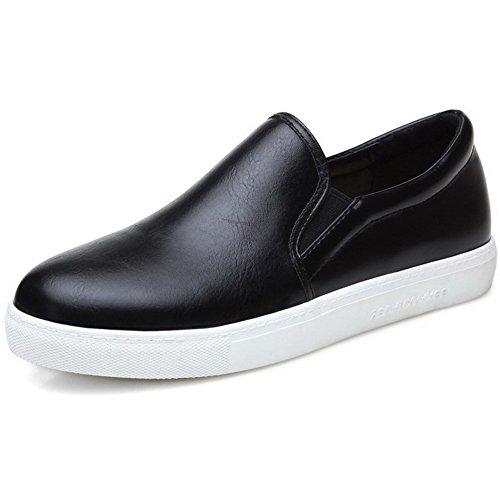Zehe Rund Niedriger Schuhe Damen Rein Absatz Schwarz Pumps Ziehen AllhqFashion auf Z4Ew5