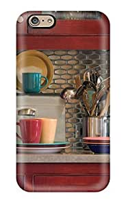 Hard Plastic Iphone 6 Case Back Cover,hot Kitchen With Stainless Steel Tile Backsplash Warm Red Cabinets And Multi-colored Fiestaware Case At Perfect Diy