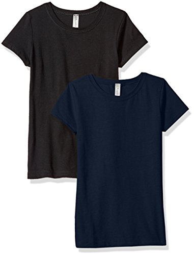 (Clementine Girls' Big Everyday T-Shirts Crew 2-Pack, Black/Navy, XL)