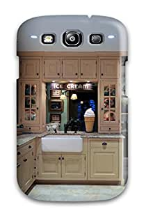Defender Case With Nice Appearance (cottage Kitchen With Mullion Glass Cabinets And Ice Cream Collectibles) For Galaxy S3
