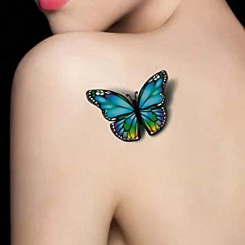 Bluelans Temporary Tattoos 3d Butterfly Fashionable Fake Tattoos Removable Waterproof Body Art Tattoo Stickers For Women Teens Girls Butterfly