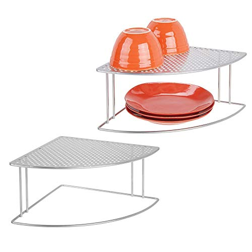 mDesign Rustic Metal Corner Shelf - 2 Tier Storage Organizer for Kitchen Cabinet, Pantry, Shelf, Countertop - Holds Dishes, Baking Supplies, Canned Goods, Spices - Rounded Design, 2 Pack - Silver