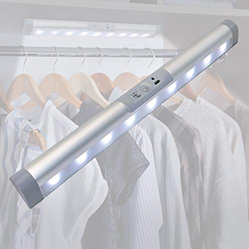 Rechargeable Motion Sensor Light Bar with Eye-Protection Design, LED Under Cabinet Lighting with Germany Osram Beads, Closet Light for Lighting Wardrobe,Pantry,Corridor,Wireless Light with Magnetic In