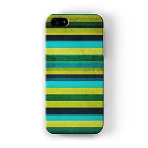 Green Stripes Funda Completa de Alta Calidad con Impresión 3D, Snap-On, Diseño Negro Formato Duro parar Apple® iPhone 5 / 5s de UltraCases