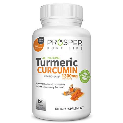 Turmeric Capsules with Black Pepper 1300mg - 120 Caps - Tumeric Curcumin Supplement w/Bioperine - Organic Turmeric Pills - Anti-Inflammatory*, Joint Pain Relief* - Non-GMO, Vegan by Prosper Pure -