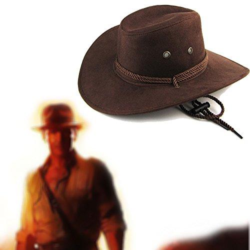 (Letsfree Unisex Western Outback Cowboy Hat Men's Women's Style Faux Felt Fedora Hat)